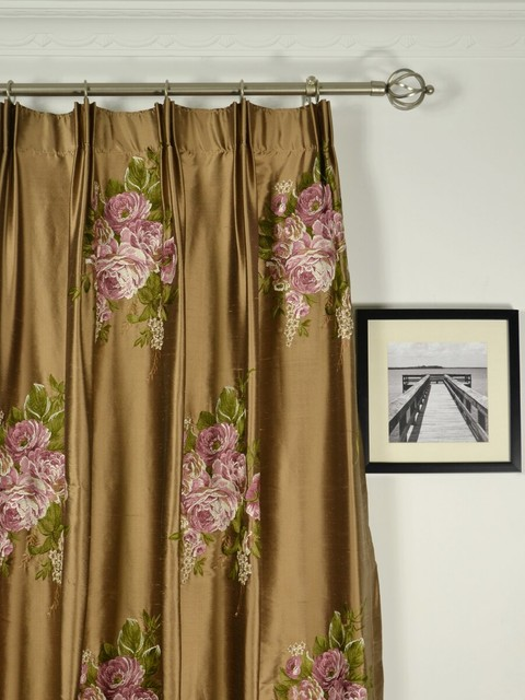 Brown embroidered floral pleated dupioni drapes for Traditional curtains for living room