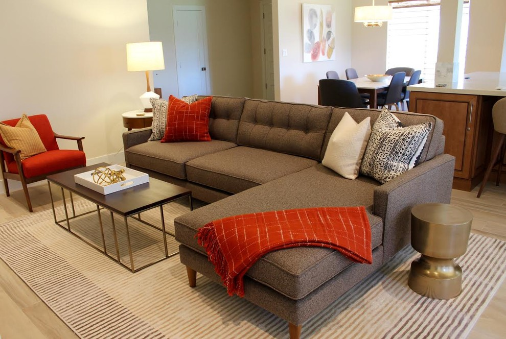 Brown Tweed Sectional In Mid Century