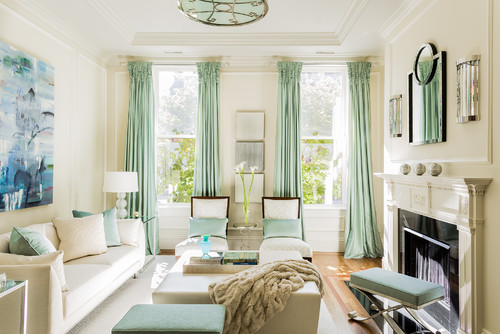 transitional living room Color of the Month: Decorating with Seafoam
