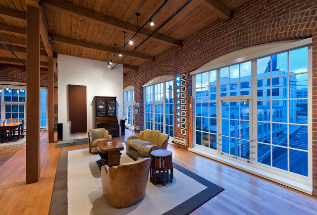 Inspiration for a modern open concept medium tone wood floor living room remodel in San Francisco & Loft Lighting | Houzz azcodes.com