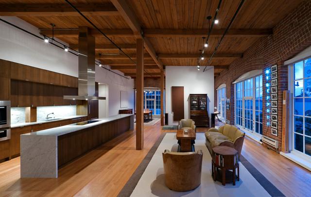 Bryant street loft moderne salon san francisco par - Luminaire sur poutre apparente ...