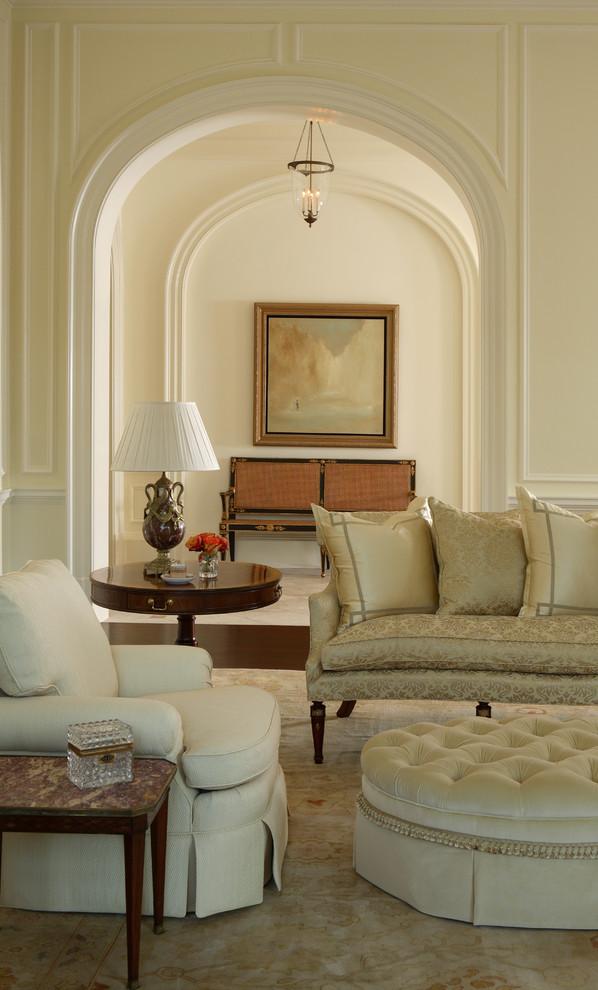 Living room - victorian dark wood floor living room idea in Atlanta