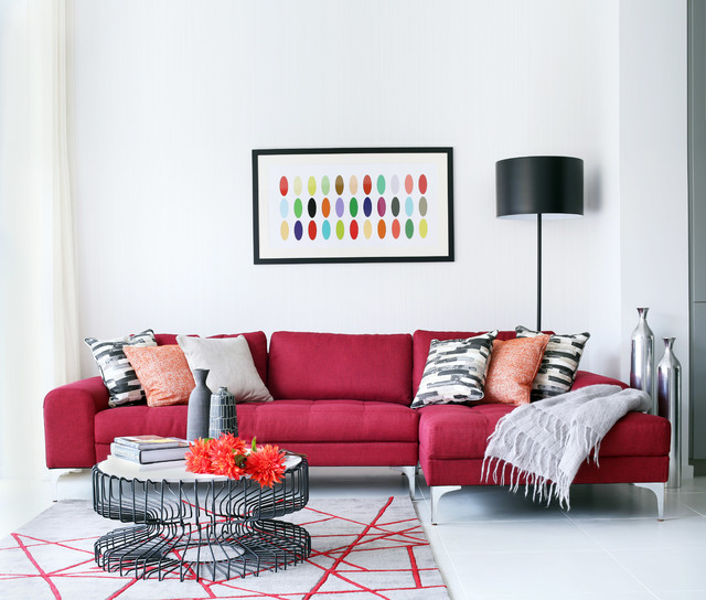 Living Room Red Sofa Houzz
