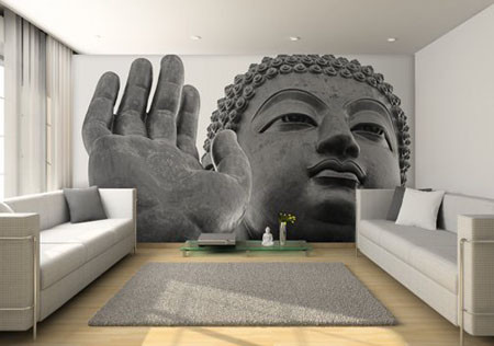 Buddha Mural Wall Contemporary Living Room
