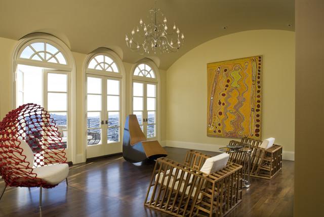 Trendy dark wood floor living room photo in San Francisco
