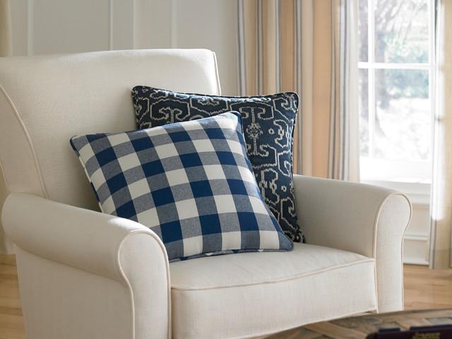 Buffalo Check And Ikat Pillows Traditional Living Room