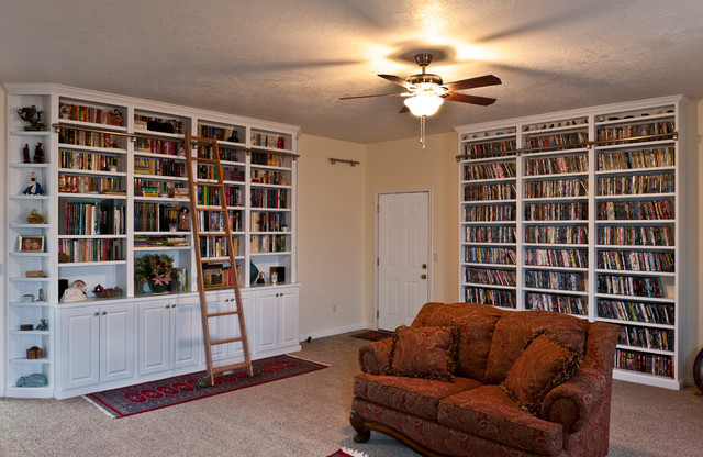 Built In Bookcase W Rolling Ladder Traditional Living Room