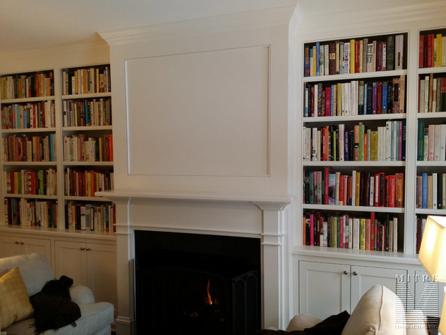 Living room library - traditional living room library idea in DC Metro