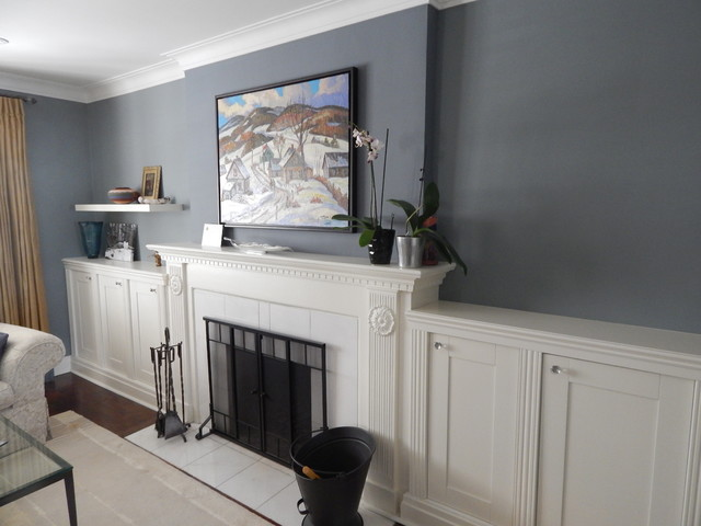 Built In Cabinets Flanking Fireplace 1