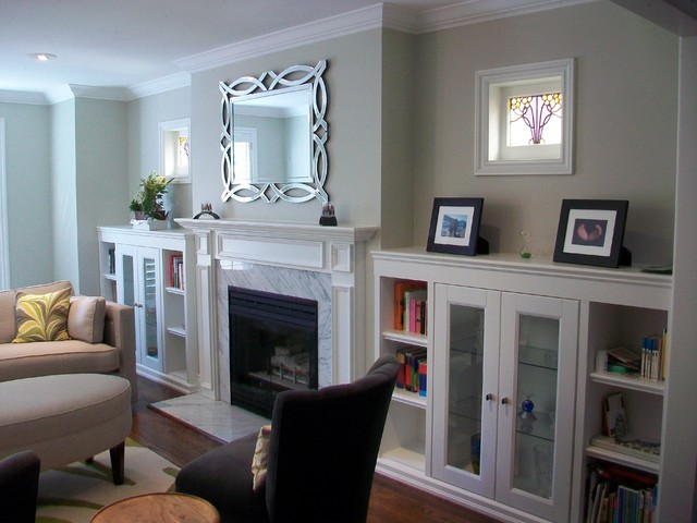 Built In Cabinets Flanking Fireplace 3