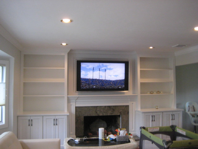 Built In Media Unit With Custom Cabinets And Shelves Living Room New York