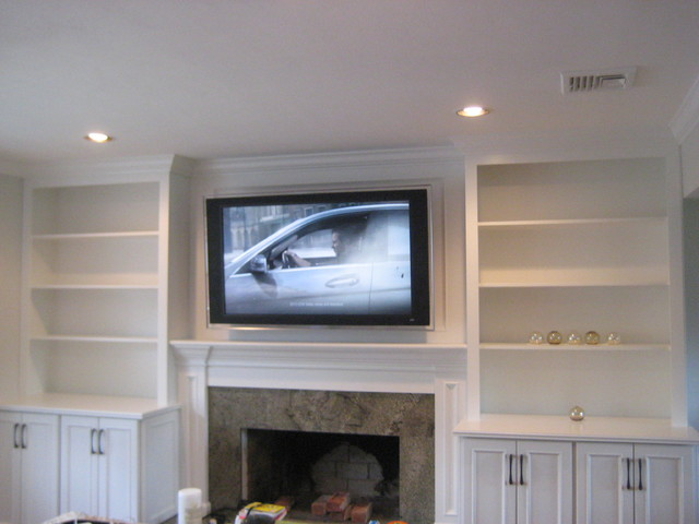 Built In Media Unit With Custom Cabinets And Shelves Traditional Living Room