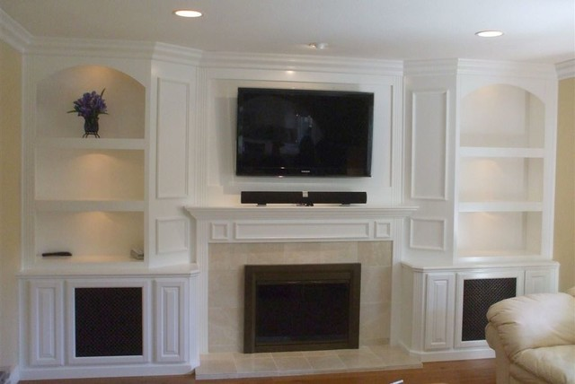 Built In White Lacquer Wall Unit Traditional Living Room Part 36