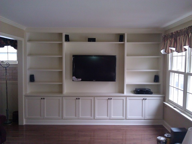 Built in with wall hung tv traditional living room philadelphia by a k custom interiors for Built in designs living room