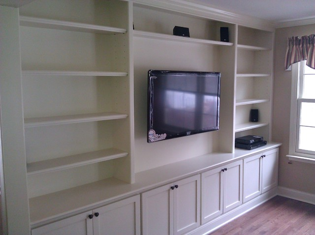 Built In With Wall Hung Tv Traditional Living Room Philadelphia By A K Custom Interiors