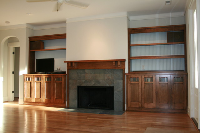 built ins around fireplace