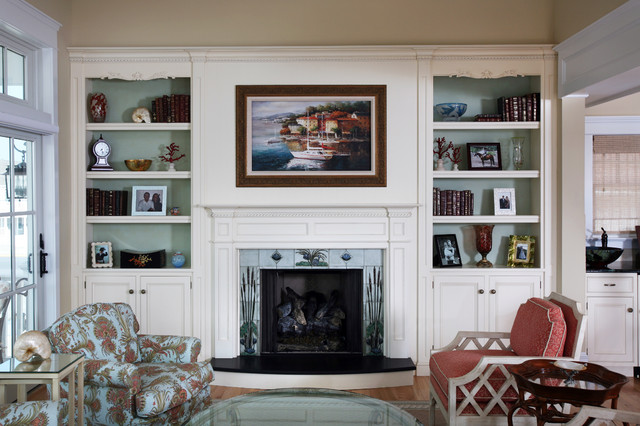 Built ins beach style living room philadelphia by Built in shelves living room