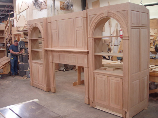 Built ins bookcases entertainment centers offices for Shop kitchen cabinets
