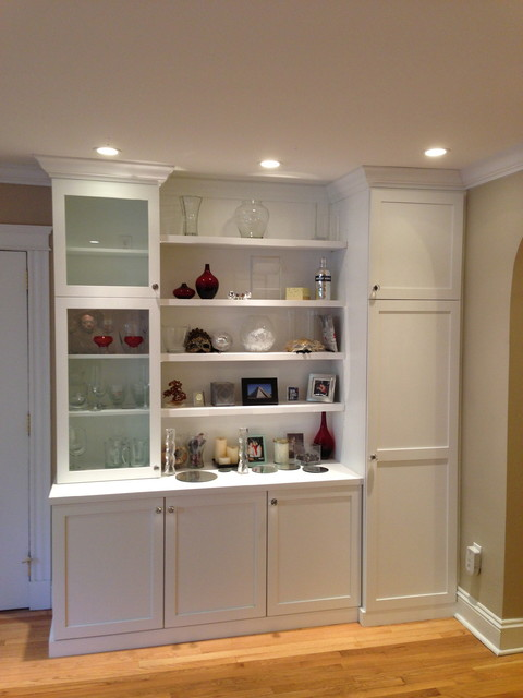 Built Ins With Hidden Coat Closet Eclectic Living Room