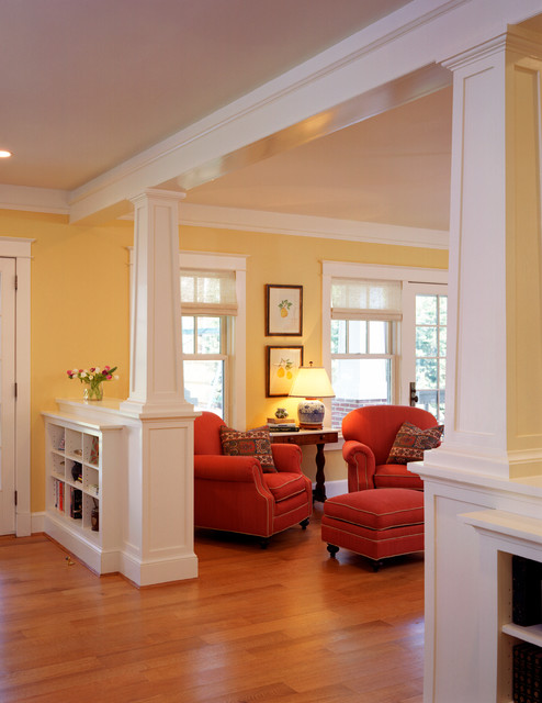Bungalow transformations traditional living room dc Bungalow columns
