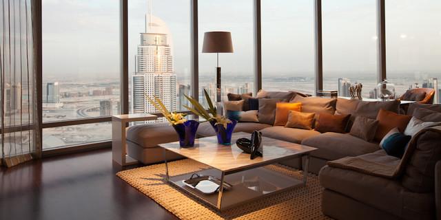 Burj Khalifa Dubai Contemporary Living Room