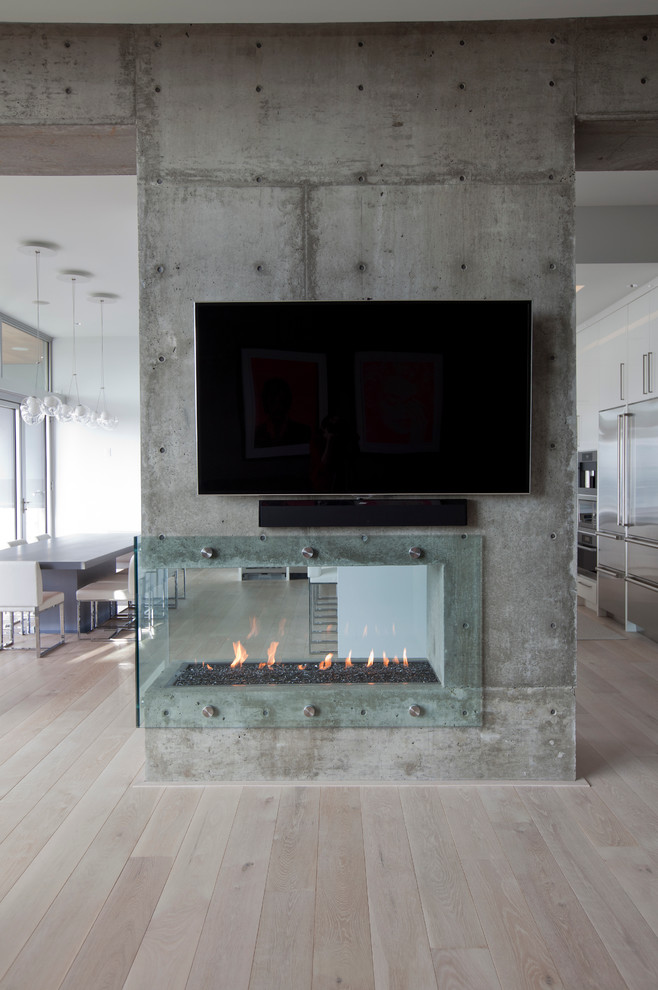 Trendy living room photo in Vancouver with a two-sided fireplace