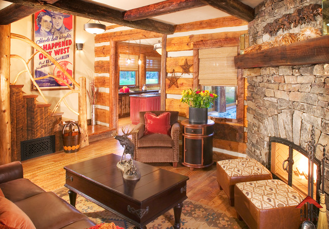 Cabin chic rocky mountain homes rustic living room other metro