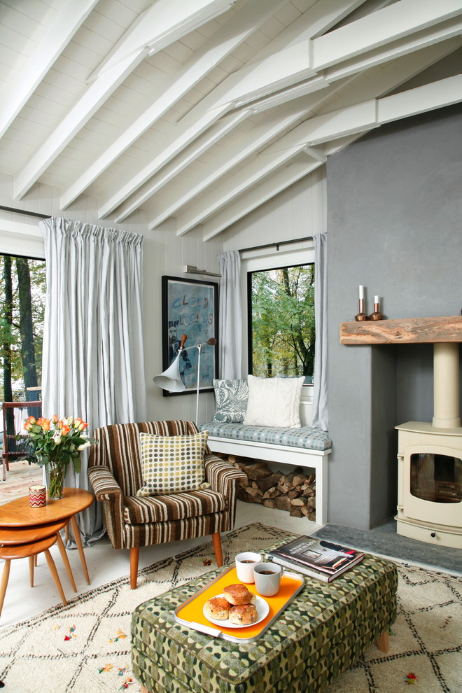 Inspiration for an eclectic living room remodel in London with white walls, a wood stove and no tv