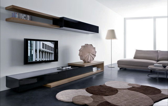 modern living room idea with a wall mounted tv