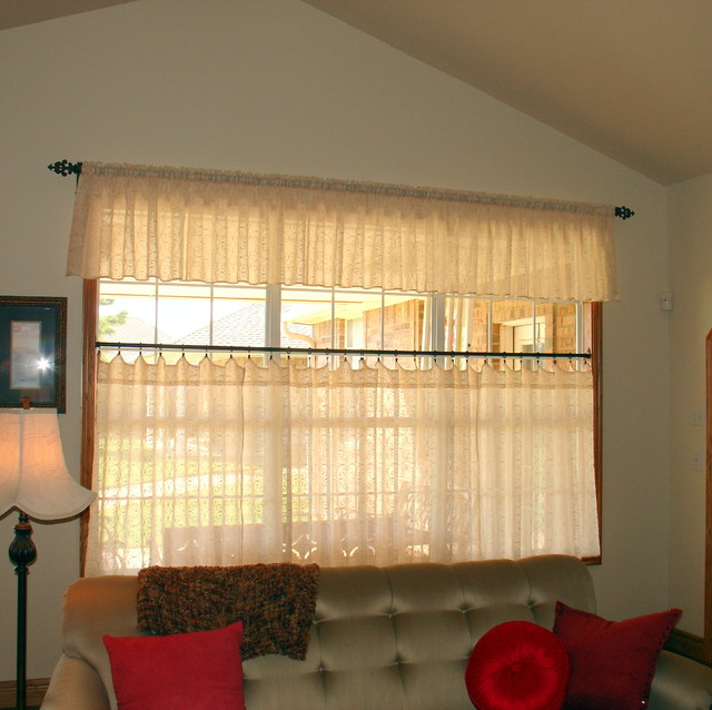 Cafe Curtains - Farmhouse - Living Room - oklahoma city ... on Curtains For Farmhouse Living Room  id=87972