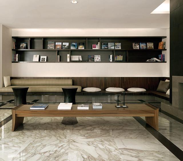 Porcelain Tile Living Room: Calacatta Porcelain Tile