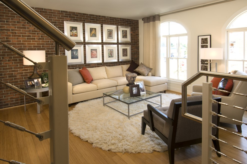 Inspiration for a mid-sized contemporary living room remodel in DC Metro with white walls and no fireplace