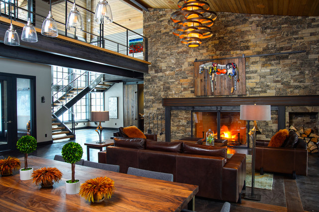 Caldera rustic modern with a twist of industrial Rustic modern living room design