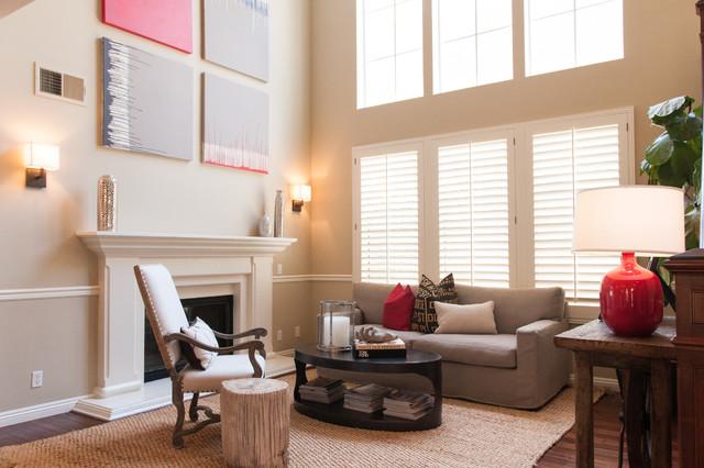 California cool transitional living room orange for Lulu designs interior design
