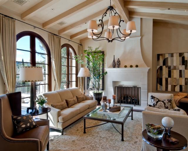California Mediterranean Eclectic Living Room San