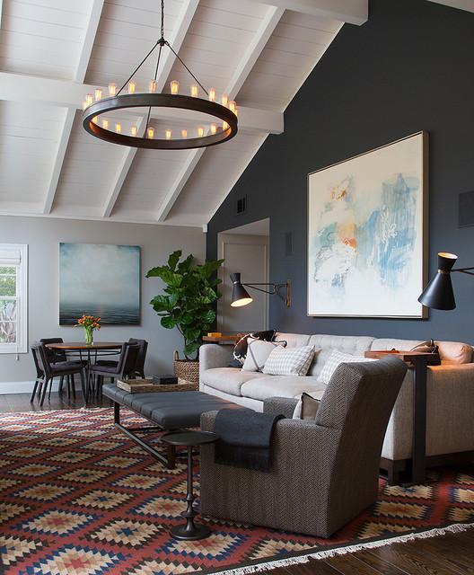 Mid-sized trendy dark wood floor living room photo in San Francisco with gray walls