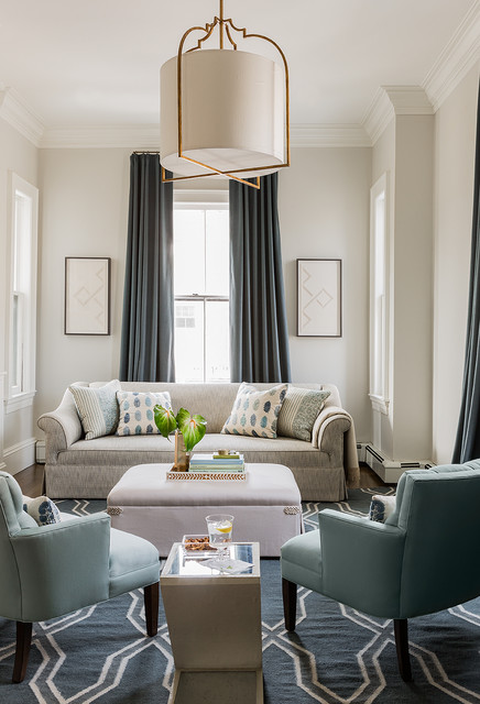 Transitional formal and enclosed living room photo in Boston with beige walls