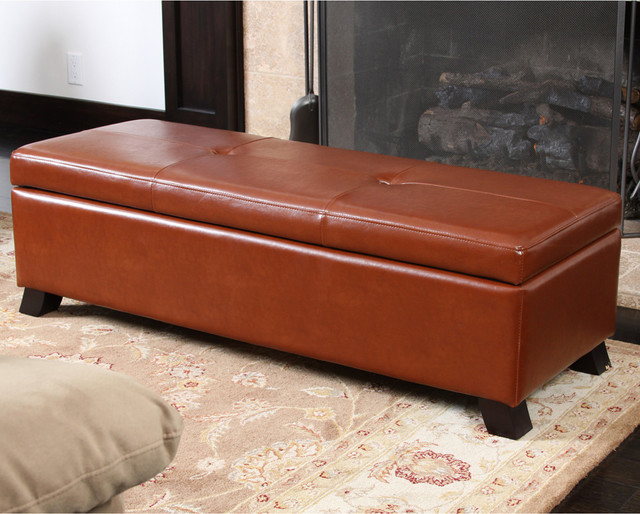 Delightful Cambridge Saddle Brown Leather Storage Ottoman Modern Living Room