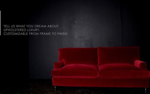 Cambridge Traditional Red Velvet Sofa - Transitional - Living Room ...