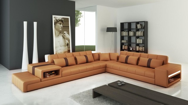 Camel and Brown Bonded Leather Sectional Sofa with Pillows - Modern ...