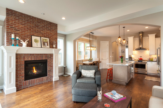 Living Room With Brick Fireplace Red Brick Fireplace Home Design Ideas