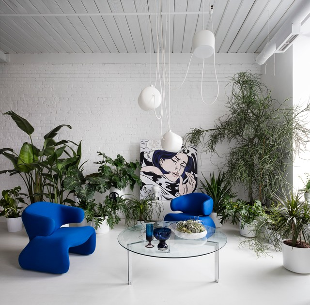 Agreable Example Of An Eclectic Open Concept White Floor Living Room Design In  Toronto With White Walls
