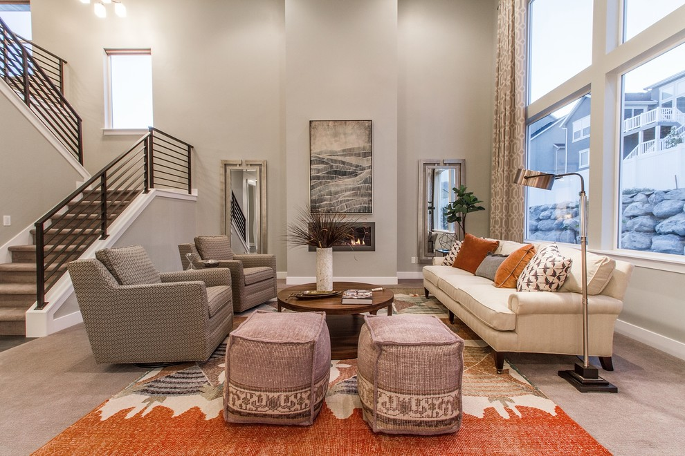 Example of a large transitional formal and open concept carpeted and brown floor living room design in Salt Lake City with gray walls, a ribbon fireplace, no tv and a plaster fireplace