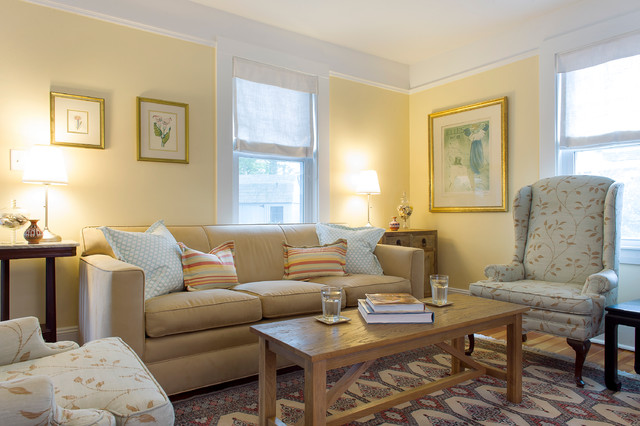 Beau Living Room   Mid Sized Beach Style Living Room Idea In Boston With Yellow  Walls