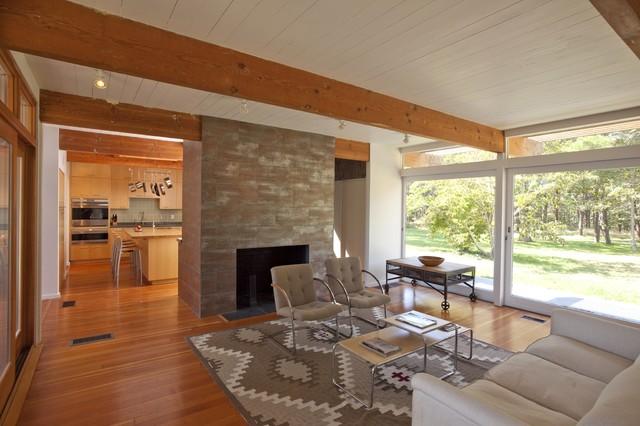 Cape Cod Modern House Addition, Wellfleet midcentury-living-room