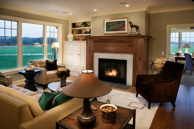 Cape cod shingle style living room traditional living room