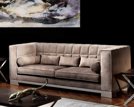 Capital Decor - Capital Decor - Kapiente Sofa - Italy - This classic piece is entirely made in Italy and available in 12 fabrics and 41 leather finish. Three seater sofa available in two sizes. Wooden feet. Two roll cushions included.