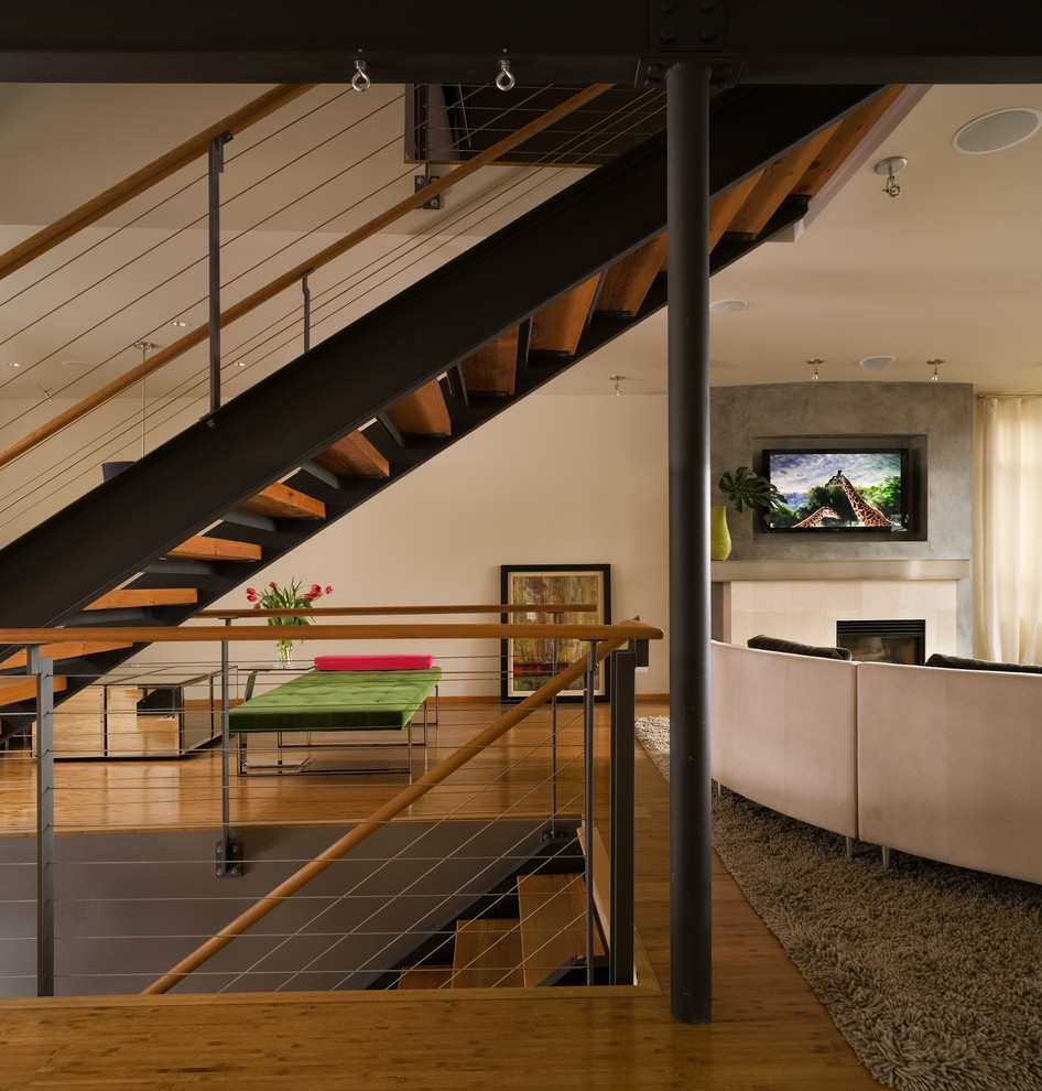 Inspiration for a contemporary bamboo floor living room remodel in Seattle