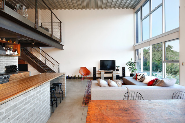 Capitol Hill Loft Industrial Living Room Seattle