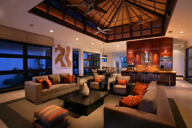 tropical living room by K2 Design Group, Inc.
